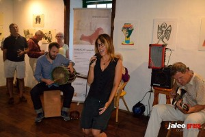 "Performing with Tobias Backhaus & Torsten de Winkel at he opening of my art exhibit at 2El Sitio"" (Isla de Hierro)"